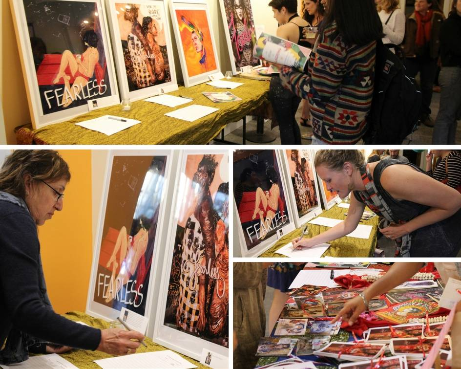 BIDDING: The event was also a fundraiser, where we exhibited some of the breathtaking art that emerged from our FearlesslyFRIDA poster campaign. They were up for auction and the money raised is going to be used to strengthen this collaboration of art and activism.