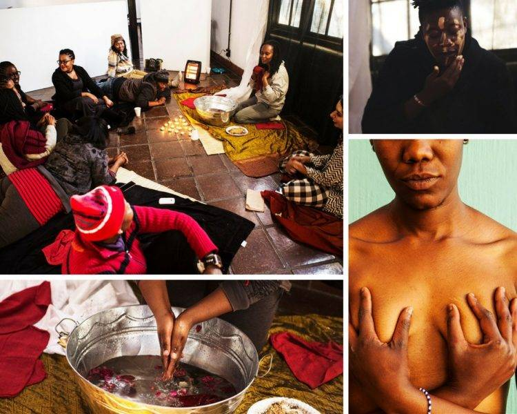 """The need to engage with the online and offline space brought collaborators 1in9 Campaign, formed as a response to the Zuma trial and HOLAAfrica together, organisational partners who worked together to document and showcase the lives of women and their stories. Apart from enabling women the report sexual crimes and facilitate moving through justice systems, both work with a #BodyAutonomy campaign where the bodies of women are being reclaimed by the women themselves, be it through their sex, their safety, their worth or their choice. In an intimate ritual, the fearless collective workshop explored dual ideas of """"Pure and Impure"""". The female form is constantly being qualified and sanctioned based on it's purity. Sometimes pure if virginal, if hairless, othertimes impure if menstruating or agent of it's own sexuality. The symbol we explored here was a daily ritual of cleansing and adorning. In the first part of the ritual, each woman sat before a tub of warm water, steeped in healing herbs, and began to wash off layers of shame that society had placed upon us. Collectively we washed off the 'blame' from our sexual offenders, the 'shame' of choosing our own partners. We washed off the pain of rejection, the judgement of body hair, the taboos of alternate sexualities, the catcalls of communities. In this act of ritual purification and catharsis, we released the 'shame' imposed upon us by the world and came into power for our choices and bodies. n the second part of the ritual, we took from a bowl of earth and gold dust (significant of all the gold mined in Joburg) And turned our 'shames' to pride and wore it as war paint. As if taking all the mud that the world slung on us and wearing it as adornment, without shame. Wearing our sex, our pleasure, our consent on our faces. Turning 'impurities' into fire. Our dirt into gold."""
